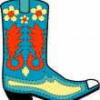 Blue cowboy boot with orange and yellow floral shapes - Stock Vector