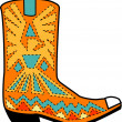 Orange aztec style cowboy boot with blue and yellow accents around a bird - Stock Vector