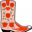 Pink cowgirl boot with a pattern of red roses - Stock Vector