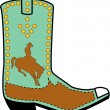 Turquoise and brown boot of a cowboy in silhouette, riding a bucking bronco - Stock Vector