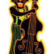 Black cat playing a bass fiddle in a band - Stock Vector