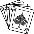 Hand of cards showing a 10, Jack, Queen, King and ace of spades — Stock Vector