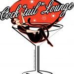 kadın bir dev martini cam bir kokteyl salonu, yalan bir kedi kostüm — Stok Vektör