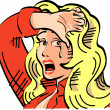Stock Vector: Upset blond cowgirl