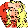 Upset blond cowgirl - Stock Vector