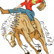 Sexy blond cowgirl in a red shirt, riding a bucking bronco in a rodeo - Stock Vector