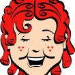 Happy curly red haired girl with freckles, laughing — Stock Vector