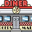 Retro diner building with a clock on it and signs advertising burgers and malts — Stock Vector #17827583