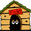 Dog named fido inside his dog house — Vettoriali Stock