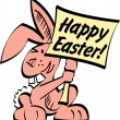 Pink Easter bunny with buck teeth holding a happy Easter sign — Stock Vector