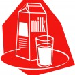 Glass of milk by a milk carton — 图库矢量图片