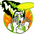 Bride of Frankenstein screaming — Stock Vector