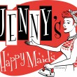 Vintage Jennys Happy Maids advertisement — Stock Vector #17827965
