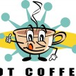 Coffee cup character with steamy hot coffee — Imagen vectorial