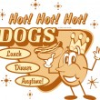 Vintage hot dog advertisement — Stock Vector