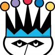 Funny cartoon jester wearing colorful crown and mask. — ストックベクター #17828219