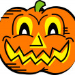 Grinning carved pumpkin on Halloween — Stock Vector