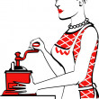 Beautiful red haired housewife or maid woman using a manual coffee grinder, with text - Stock Vector