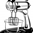 Постер, плакат: White clipart picture of an electric mixer in a kitchen