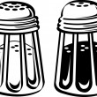 Salt and pepper shakers in a diner - Stock Vector