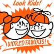 Two happy freckled red haired kids, one boy and one girl, smiling with text reading Look Kids! World Famous! — Stock Vector #17828361
