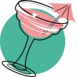 Vettoriale Stock : Margaritor frozen daiquiri with pink umbrellin glass