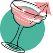 Vector de stock : Margaritor frozen daiquiri with pink umbrellin glass