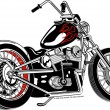 Black motorcycle with red flame paint accents — Stockvectorbeeld