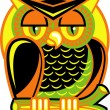 Colorful owl perched on a branch — Stock Vector