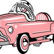 Pink metal pedal convertible toy car — Stock Vector #17828587