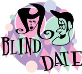 Man and woman grinning at eachother while on a blind date — Stock Vector