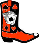 Black and red cowboy boot with playing cards and silhouettes of a spade, club, diamond and heart — Stock Vector