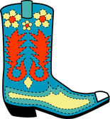 Blue cowboy boot with orange and yellow floral shapes — Stock Vector