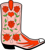 Pink cowgirl boot with a pattern of red roses — Stock Vector