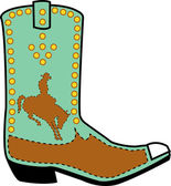 Turquoise and brown boot of a cowboy in silhouette, riding a bucking bronco — Stock Vector