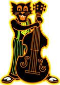 Chat noir joue un violon de basse dans un groupe — Vecteur