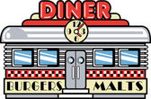 Retro diner building with a clock on it and signs advertising burgers and malts — Stock Vector