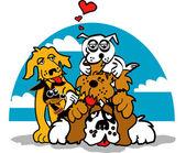 Friendly dogs piling on top of a Saint Bernard — Stock Vector