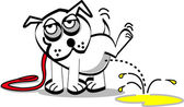White dog on a leash, lifting his leg spraying — Stock Vector