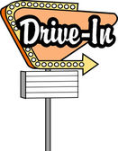 Vintage tan drive in sign with an arrow — Stock Vector