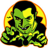Vampire with dark hair slicked back — Stock Vector