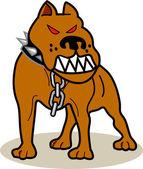 Perro terrier marrón americano pitbull con ojos rojos, lleva un collar con picos — Vector de stock
