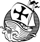 The Mayflower Ship Transporting Pilgrims To America — Stock Vector