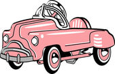Pink metal pedal convertible toy car — Stock Vector