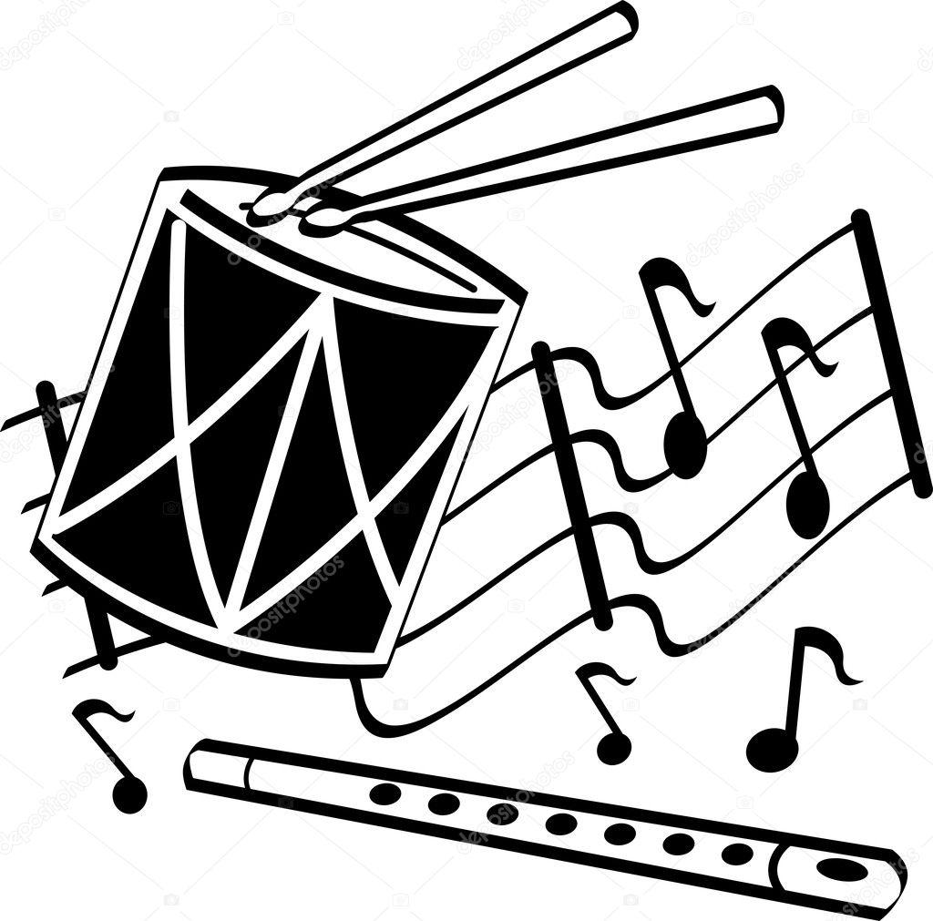 onderdijen op een trommel en fluit over muzieknoten elk clip art borders elk clip art borders