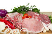 Raw meat with vegetables — Stock Photo
