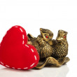 Red heart and figurine — Foto Stock