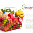 Shopping basket with groceries — Stock Photo #47120155
