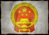 Chiny herb flaga narodowa — Zdjęcie stockowe