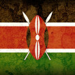 Stock Photo: NATIONAL KENYAN FLAG ON EARTH